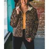 L&B Ladies Dark Wash Leopard Denim Jacket MH1299-LEO-SHERPA