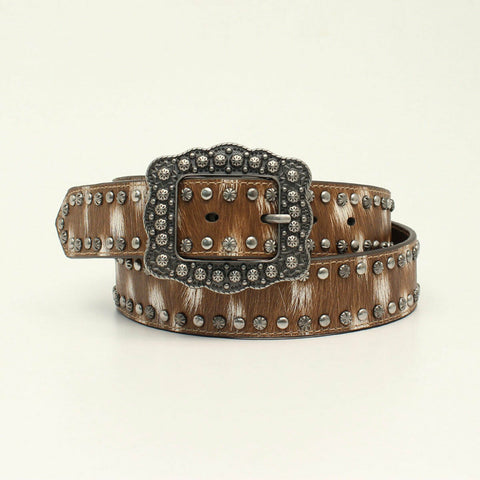 Angel Ranch by 3D Ladies Deer Print & Studs Brown Leather Belt D140000102