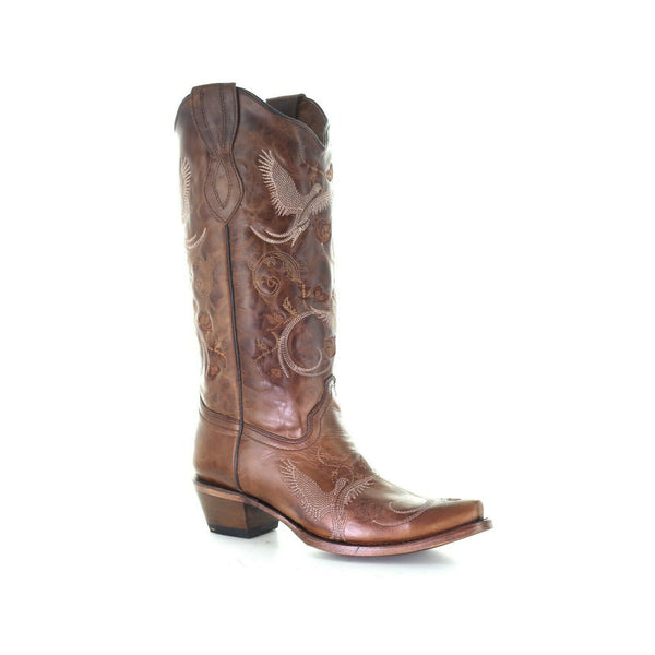 Circle G Corral Ladies Brown Bird Embroidery Snip Toe Boots L2004