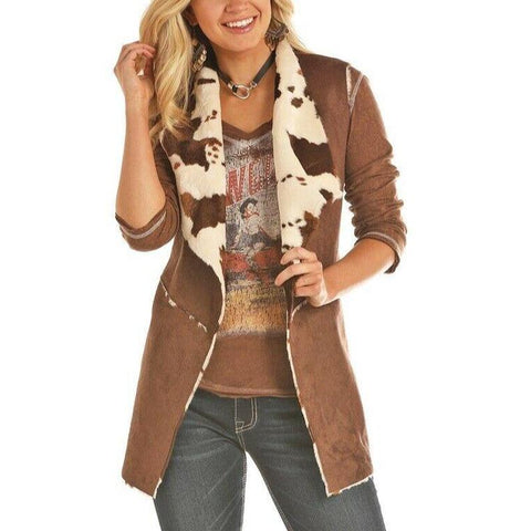 Panhandle Ladies Brown Cow Print Vest 58-2714