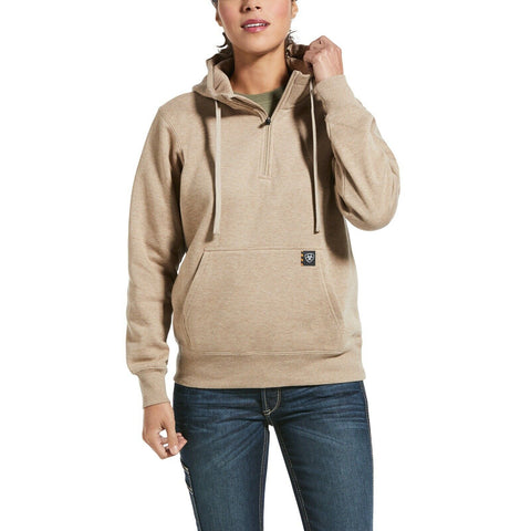 Ariat Ladies Rebar Skill-Set Beige Oatmeal 1/2-Zip Hoodie 10032912