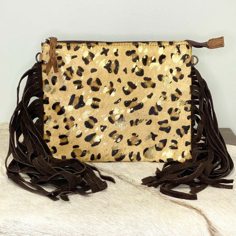 American Darling Cheetah Cowhide with Fringe Crossbody ADBG109CHE