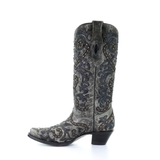 Corral Ladies Black Overlay Embroidery and Studs Western Boots A3566 - Wild West Boot Store
