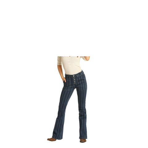 Rock & Roll Cowgirl Ladies Denim High Rise Flare Denim Jeans WHN4135