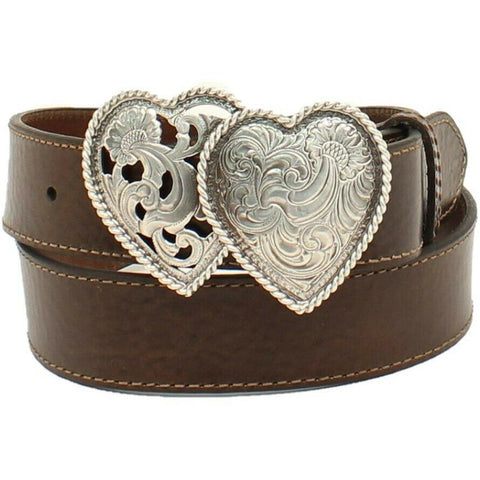 Ariat Ladies Two Heart Buckle Brown Belt A1523002