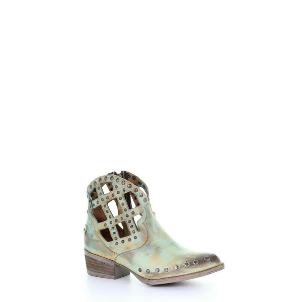 Circle G By Corral Ladies Green Studs Cutout & Zipper Booties Q5094