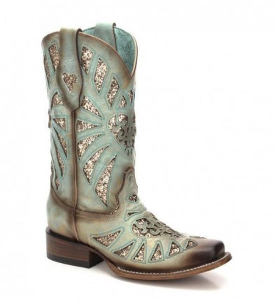 Corral Ladies Square Toe Mint Glitter Inlay Boots C3262 - Wild West Boot Store