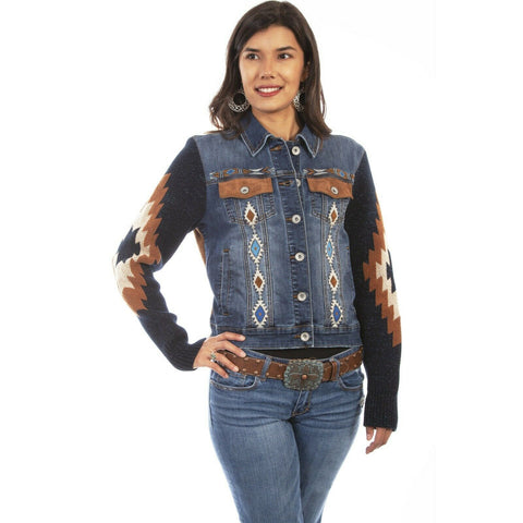 Scully Ladies Aztec Embroidered Denim Jacket HC639-DEN