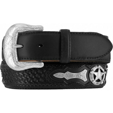 Justin Men's Black Odessa Star Leather Belt C10763
