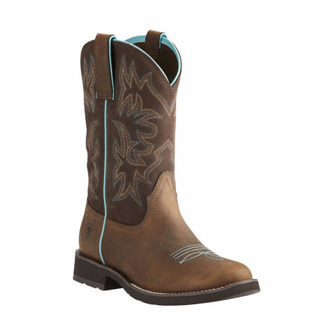 Ariat Ladies Delilah Round Toe Distressed Brown Boots 10021457 - Wild West Boot Store