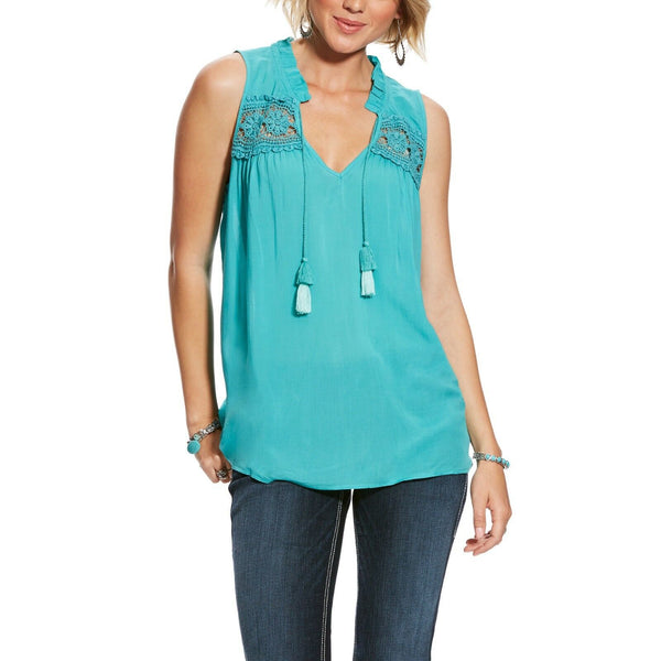 Ariat Ladies Ivy Baltic Blue Tassels Sleeveless Top 10025469