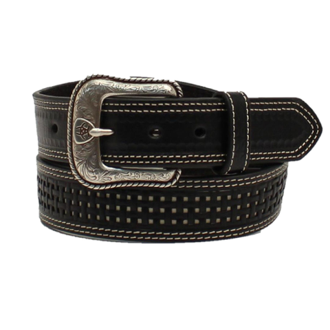 Ariat Men's Basket Weave Black Leather Belt A1035801