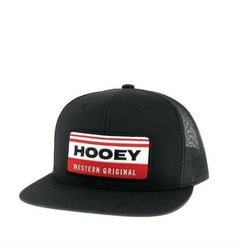Hooey Black Horizon 6-panel Trucker Hat w/ Red & White Patch 2035T-BK