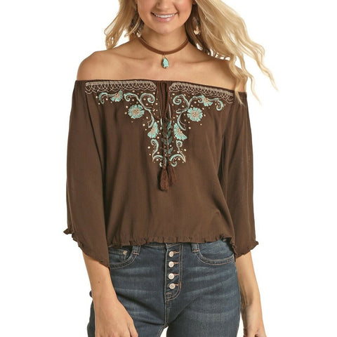 Rock & Roll Cowgirl Ladies Chocolate Off The Shoulder Shirt B4C5137