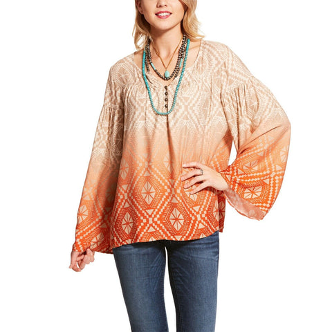Ariat® Ladies Orange Follow Your Arrow Printed Tunic Top 10028723