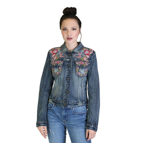 Grace in L.A. Floral Embroidery Denim Jacket TE61276
