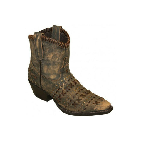 Abilene Ladies Rawhide Distressed Brown Hand Laced Ankle Boots 5074