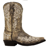 Corral Children''s Brown/Beige Embroidered Boot G1323 - Wild West Boot Store - 4
