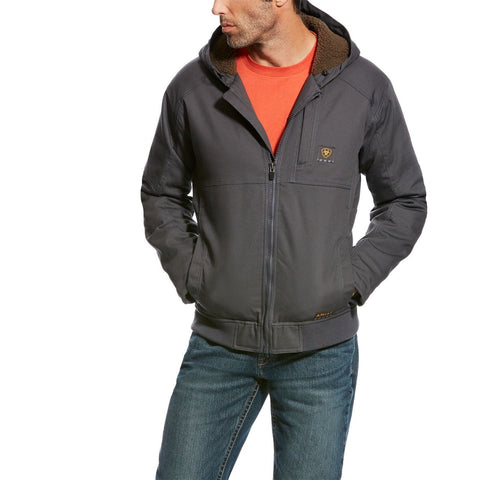 Ariat® Men's Rebar Duracanvas Grey Hooded Jacket 10023919