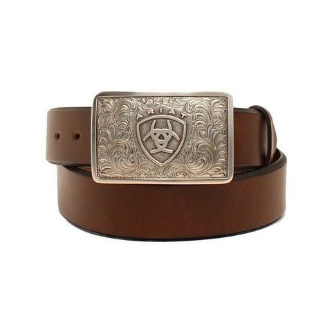 Ariat Men's Solid Brown Belt with Square Shield Logo Buckle A1020202