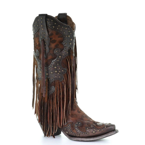 Corral Ladies Honey Goat Leopard Fringe & Studs Overlay Boots A3618 - Wild West Boot Store