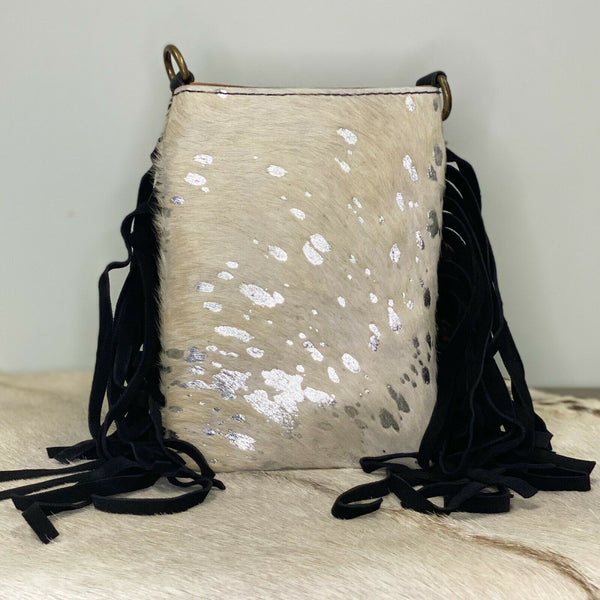 American Darling Silver and White Cowhide Crossbody ADBGS153ACSLFRNG