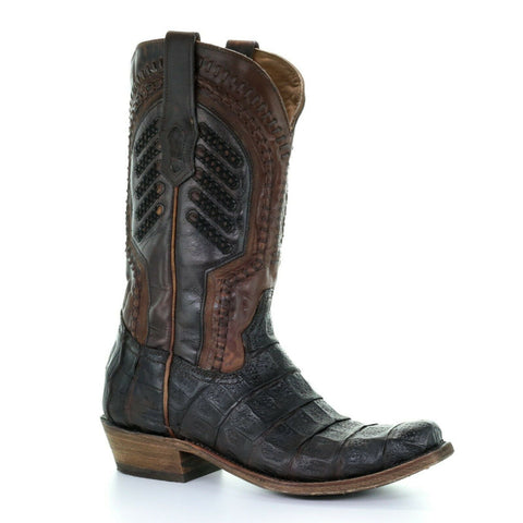 Corral Men's Oil Brown Caiman Embroidery & Woven Shaft Boots A3635