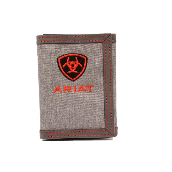 Ariat Men's Center Logo Grey & Red Tri-fold Wallet A3542404