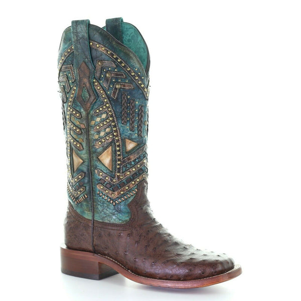 Corral Ladies Brown & Turquoise Ostrich Embroidery & Studs Boots A4059