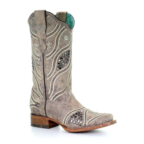 Corral Ladies Taupe Stud & Embroidery Square Toe Boots E1389 - Wild West Boot Store