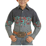 Panhandle Children's Grey Aztec Long Sleeve Shirt C0S6087