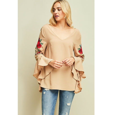 Entro Ladies Nude Shirt With Floral Embroidery T8328