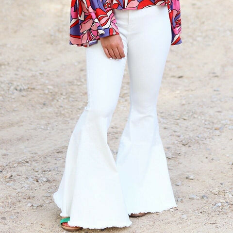 Turquoise Haven White Denim Bell Bottoms 8810W