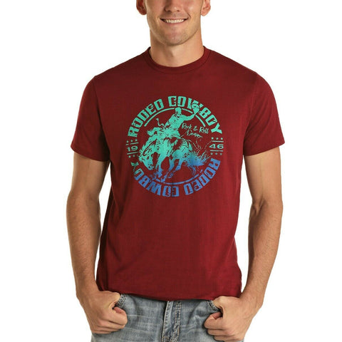 Rock & Roll Cowboy Men's Red Rodeo Cowboy Graphic T-Shirt P9-5512