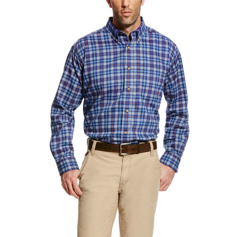 Ariat® Men's FR Collins Blue Paid Button Front Shirt 10020807