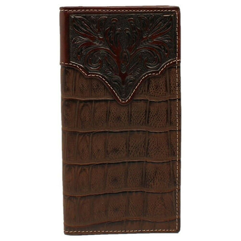 3D Chocolate Croc Print with Tooled accent Bi-Fold Rodeo Wallet DW824