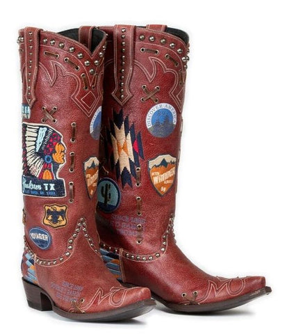 Double D Ranch Ladies Escalante Red Patchwork Biker Boots DDL044-1