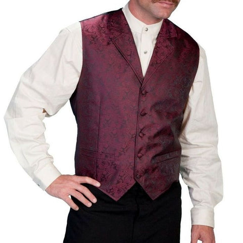 Scully Men's Burgundy Paisley Vests RW093-BURG