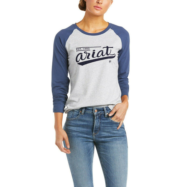 Ariat® Ladies Varsity Logo Long Sleeve Grey & Blue T-Shirt 10034412