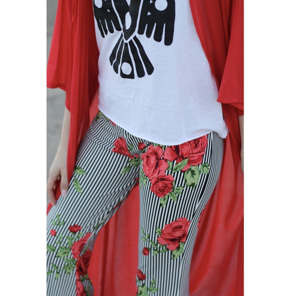 Turquoise Haven Black & White Striped Rose Bell Bottoms 8007-1069