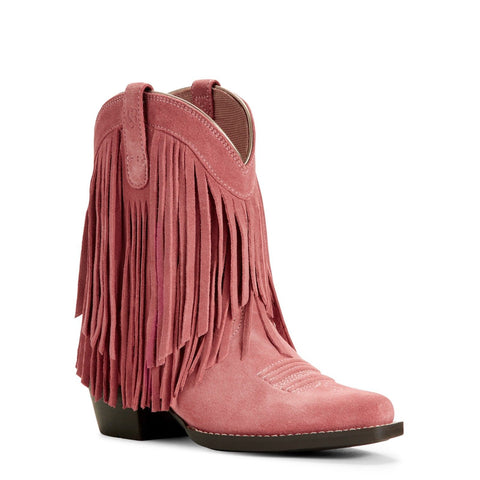 Ariat® Kid's Gold Rush Opal Pink Suede Fringe Cowgirl Boots 10027311 - Wild West Boot Store