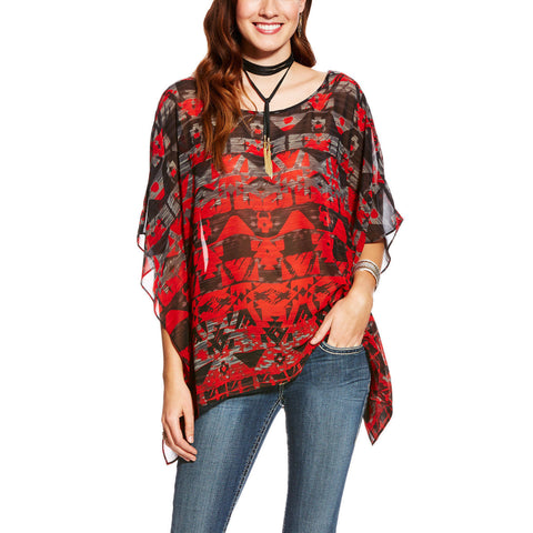Ariat Ladies Rachel Red Multicolor Printed Chiffon Tunic 10021017 - Wild West Boot Store