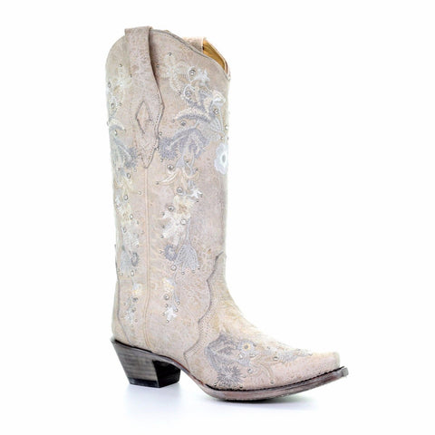 Corral Ladies White Floral Embroidery & Crystals Wedding Boots A3521