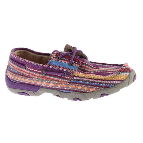 Twisted X Ladies Purple Multicolor Canvas Driving Mocs WDM0047 - Wild West Boot Store - 1