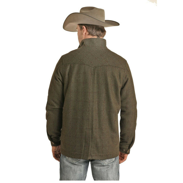 Powder River Outfitters Olive Plaid Wool Coat 92-6636-31