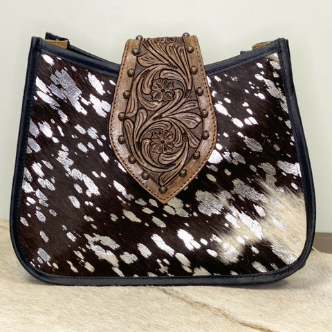 American Darling Brown and Silver Cowhide Purse ADBGS101ACSL