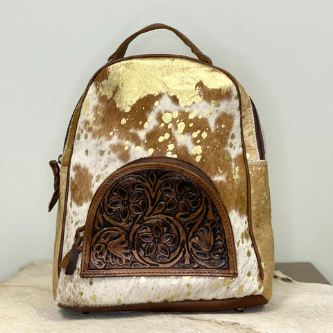 American Darling Brown and White Cowhide Backpack Purse ADBGS156ACGO