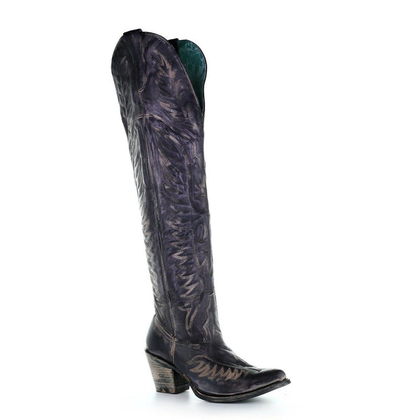 Corral Ladies Black Embroidery Tall Top Boots E1506