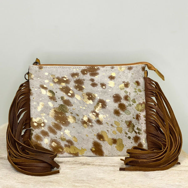 American Darling Gold and Cowhide Fringe Purse ADBG109ACGOFRNG