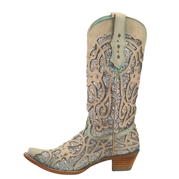 Corral Ladies White/Turquoise Chameleon Sun Effect Western Boots C3377 - Wild West Boot Store